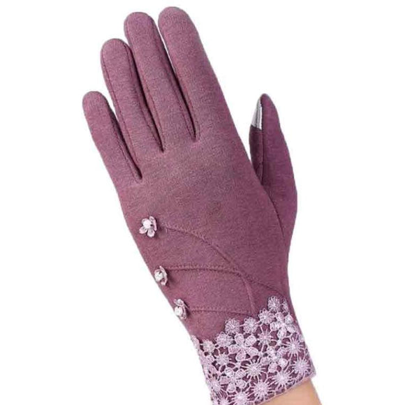 Touch Screen Ladies Lace Gloves