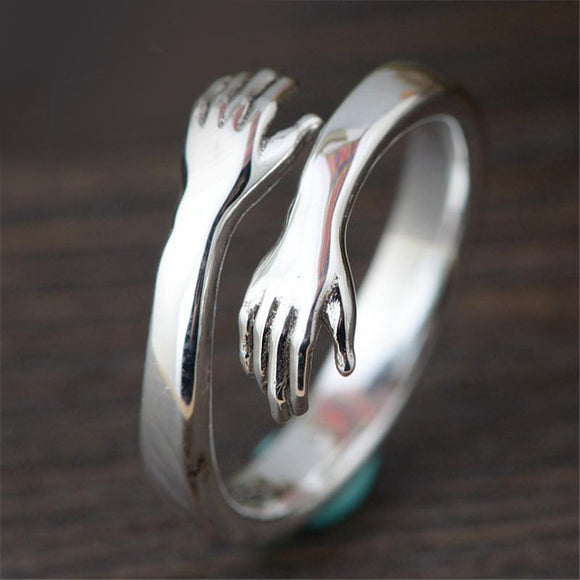 Adjustable Hugging Hand Ring