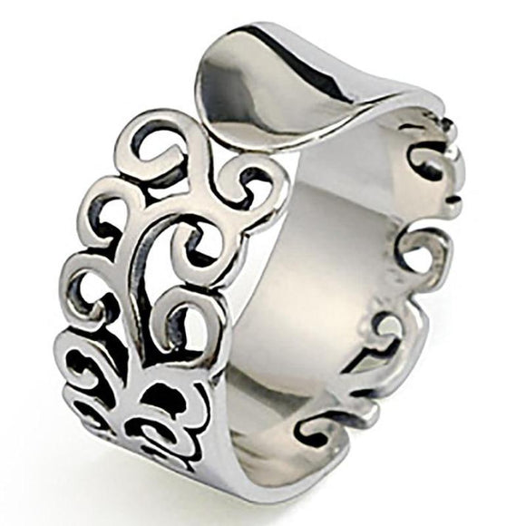 Curled Lattice Carved Silver Ring
