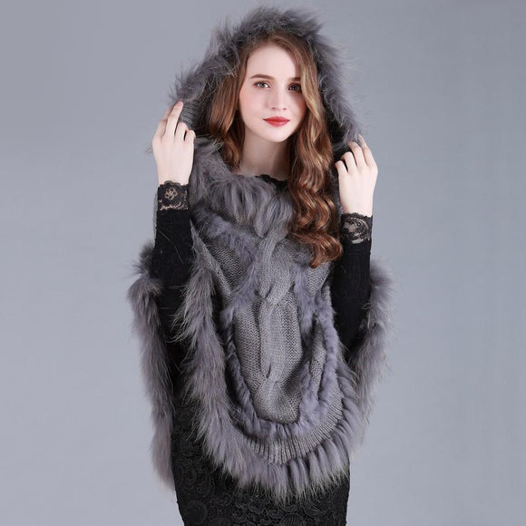 Knitted Autumn Faux Fur Cape Poncho