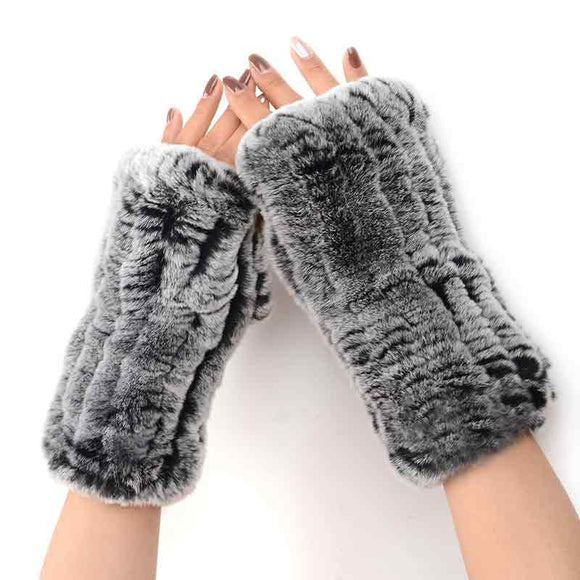 Fuzzy Hand-Knit Half Finger Gloves