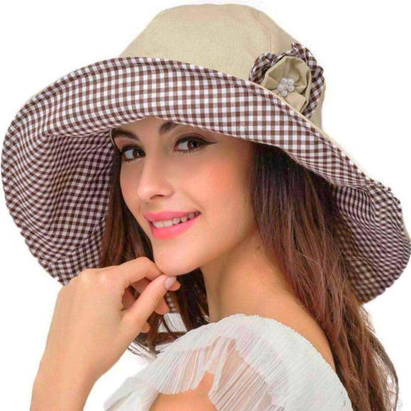 Retro Large-Brim Flower Foldable Hat