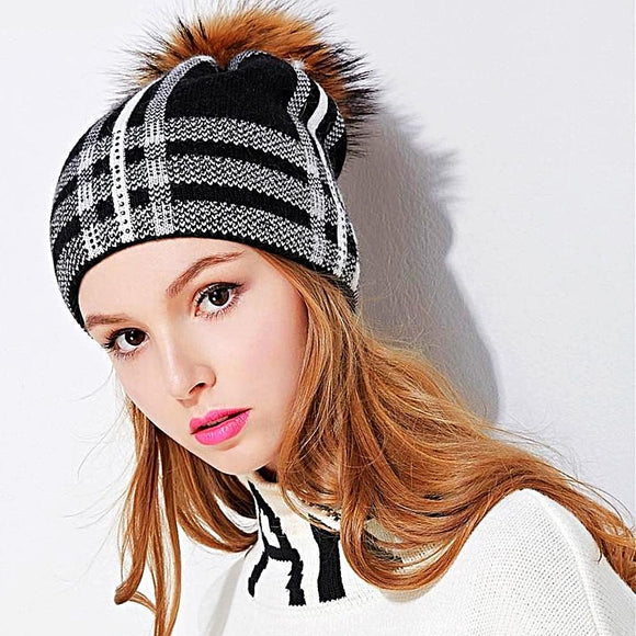 Checkered Wool & Fur Skull Hat
