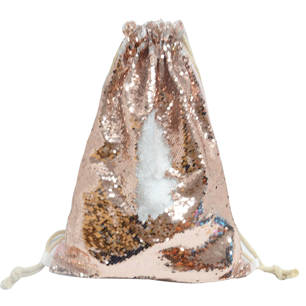 Sequin Drawstring bag-34X45m-Champagne-Gold-50pcs
