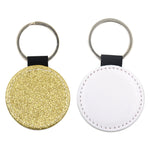 Round PU Glitter Key Chain -Golden- 100pcs