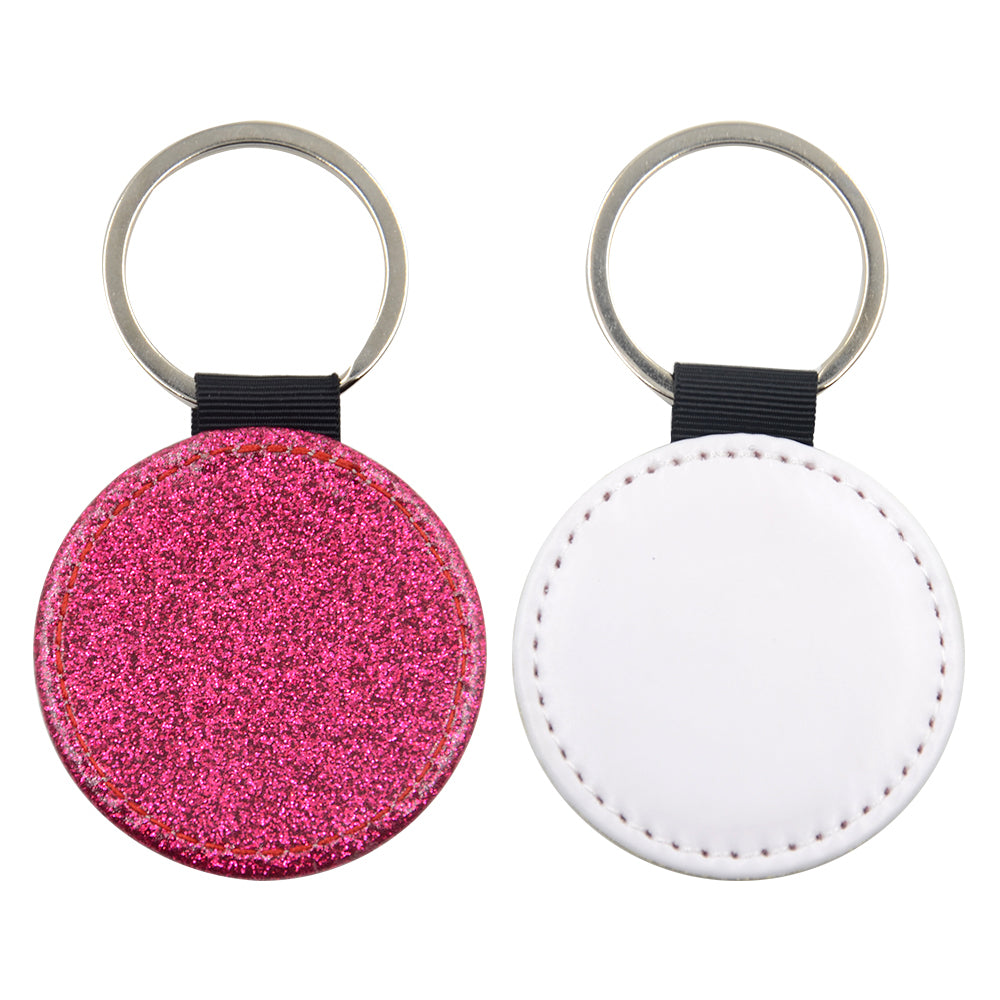 Round PU Glitter Key Chain -Rose Red- 100pcs