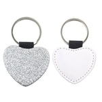 Heart PU Glitter Key Chain -Silver- 100pcs