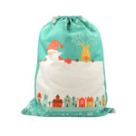 Pre-Printed Green Small Linen Drawstring Sack - 100pcs