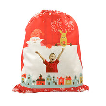 Pre-Printed Red Small Linen Drawstring Sack - 100pcs