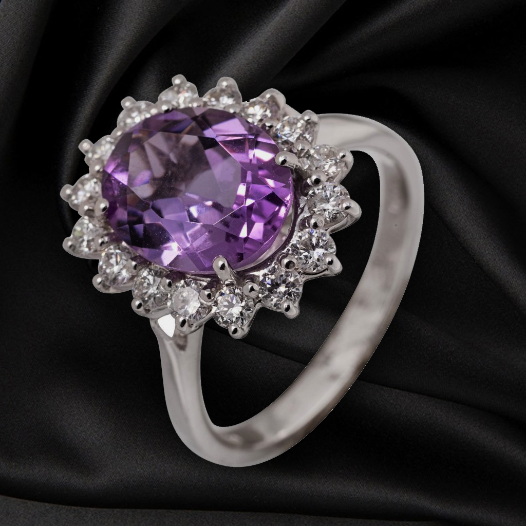 18CT AMETHYST AND DIAMOND RING