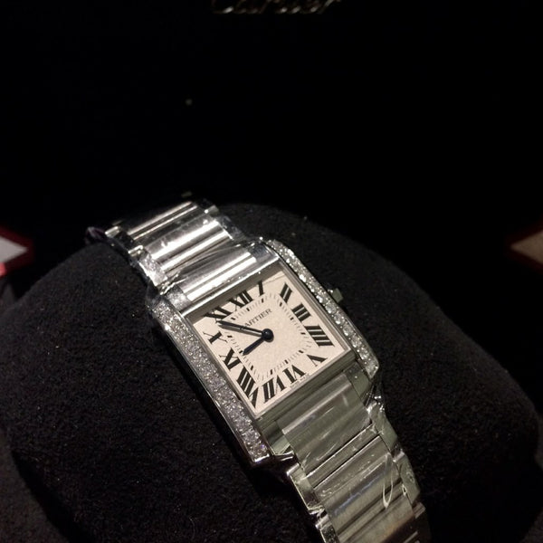 Brand New midi Cartier Tank Francaise with Diamond Bezel