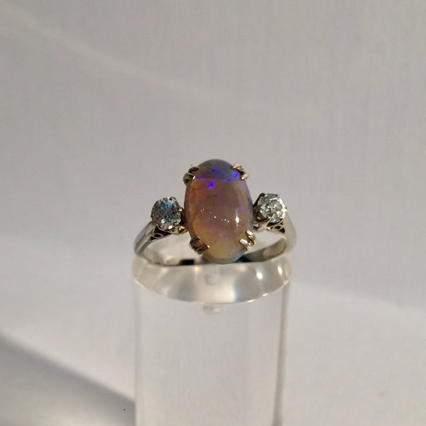 18ct White Gold Rare Black Opal and Diamond Ring