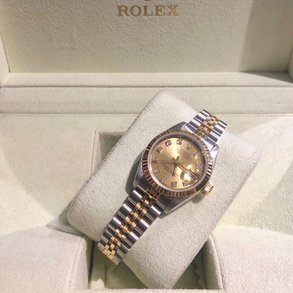 Ladies Champagne Diamond Dot Dial Bi-Metal Rolex Datejust