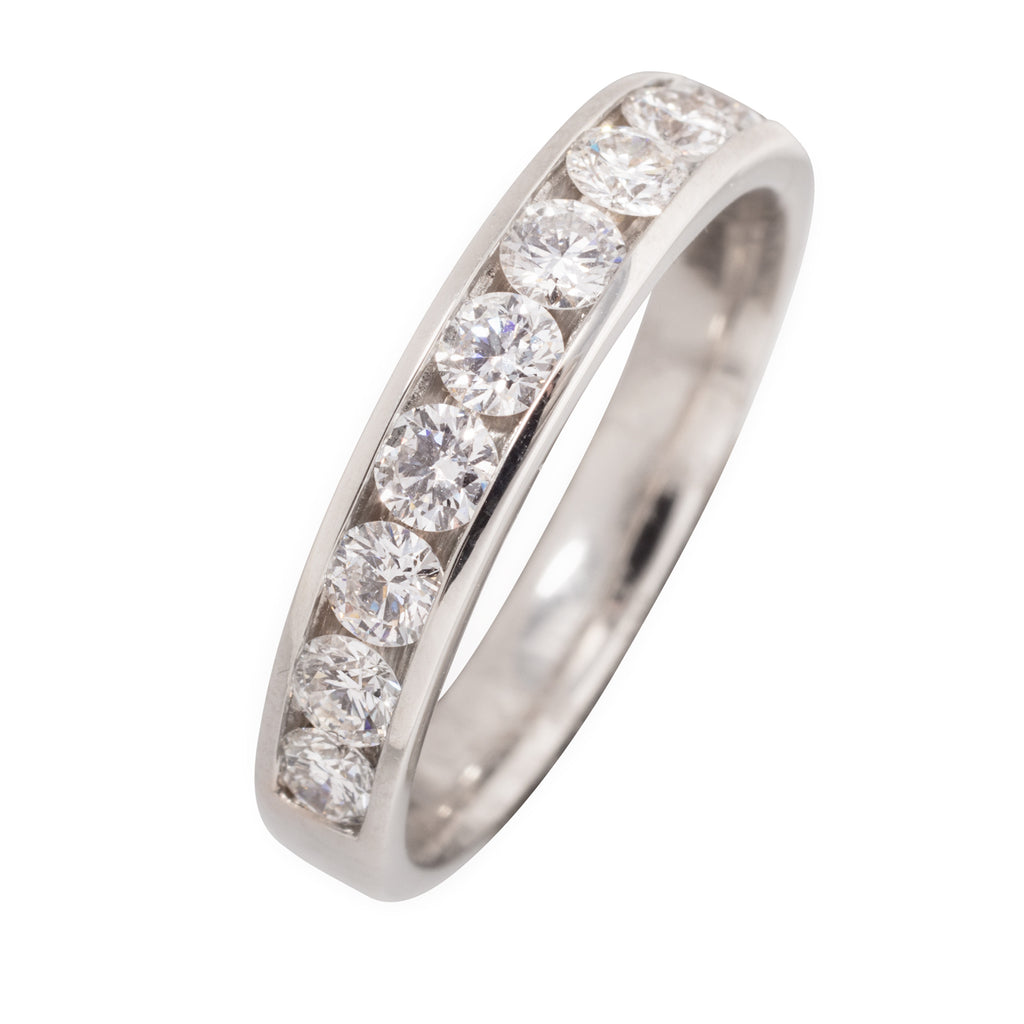 PLATINUM CHANNEL SET DIAMOND RING