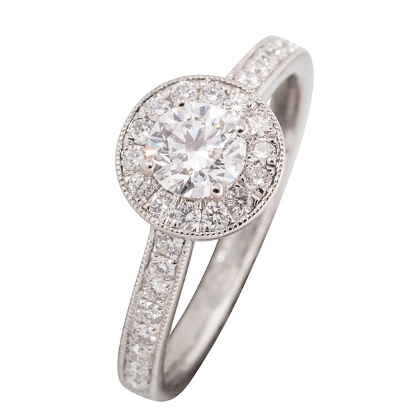 PLATINUM HALO ENGAGEMENT DIAMOND RING