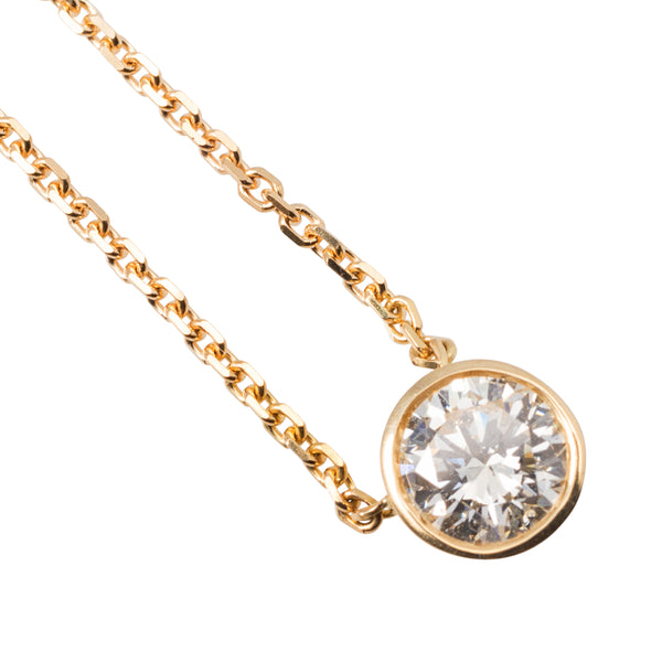 18CT YELLOW GOLD RUB OVER DIAMOND PENDANT