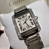 Cartier Ladies Tank Francaise with Diamond Bezel