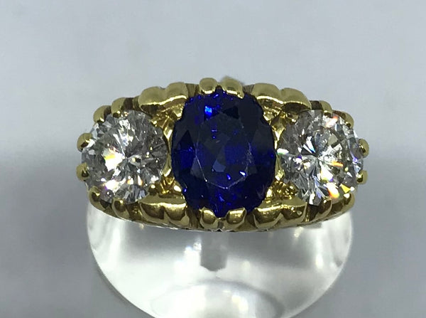 18ct three stone diamond and sapphire vintage ring