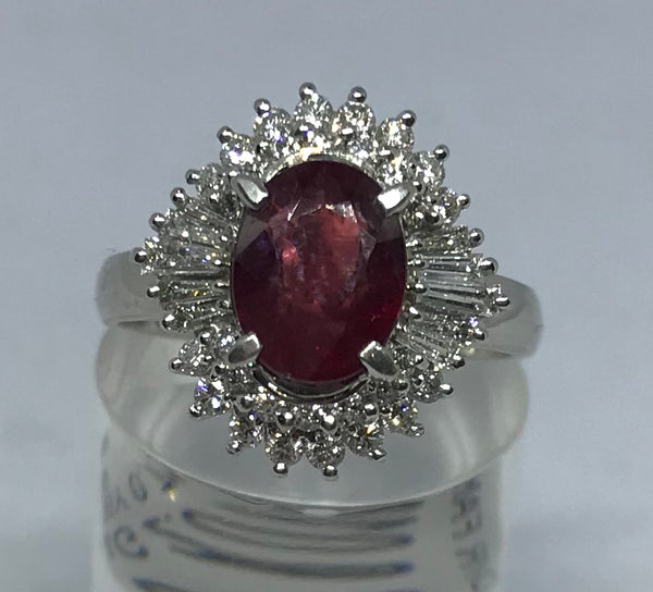 Ruby and diamond fancy cocktail cluster ring