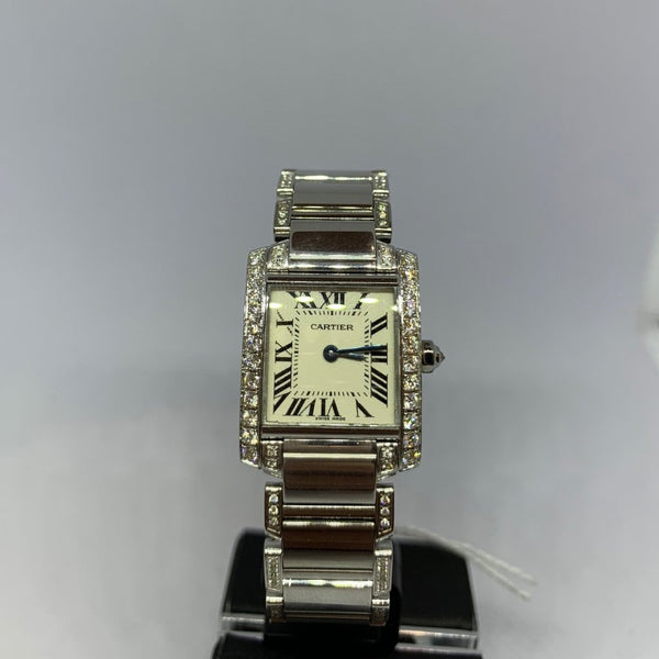 Ladies Cartier Tank Francaise Diamond Bezel and Diamond Strap