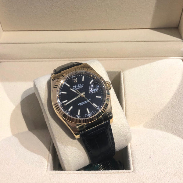 Gents Black Dial 18ct Yellow Gold Leather Strap Rolex Datejust