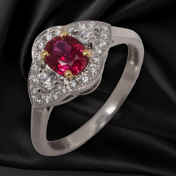 18CT RUBY AND DIAMOND CLUSTER RING