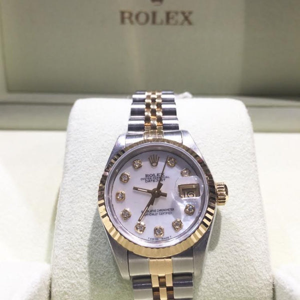 Ladies Bi-metal Mother of Pearl Diamond Dot Dial Rolex Datejust