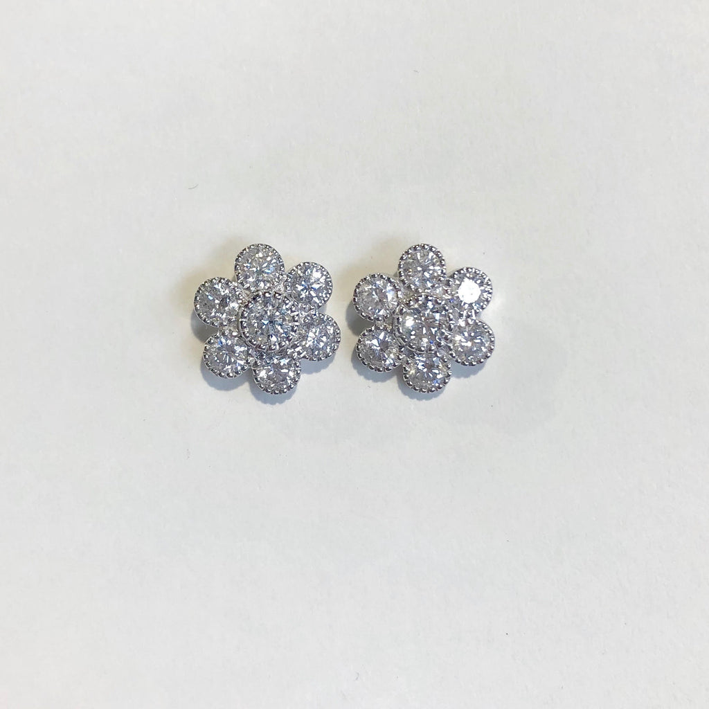 18CT WHITE GOLD DAISY CLUSTER STUD EARRINGS