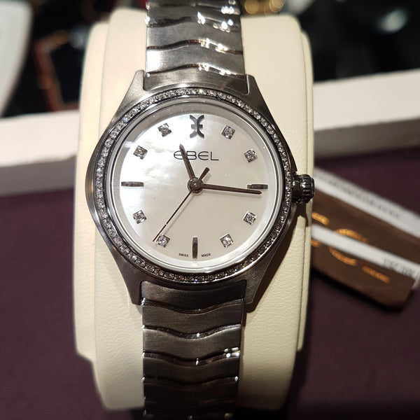 Ladies Ebel wave diamond bezel