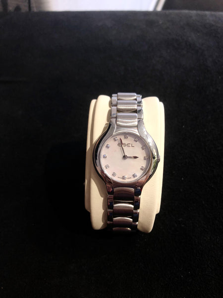 Ladies White Ebel Beluga Diamond Dial Stainless Steel Watch