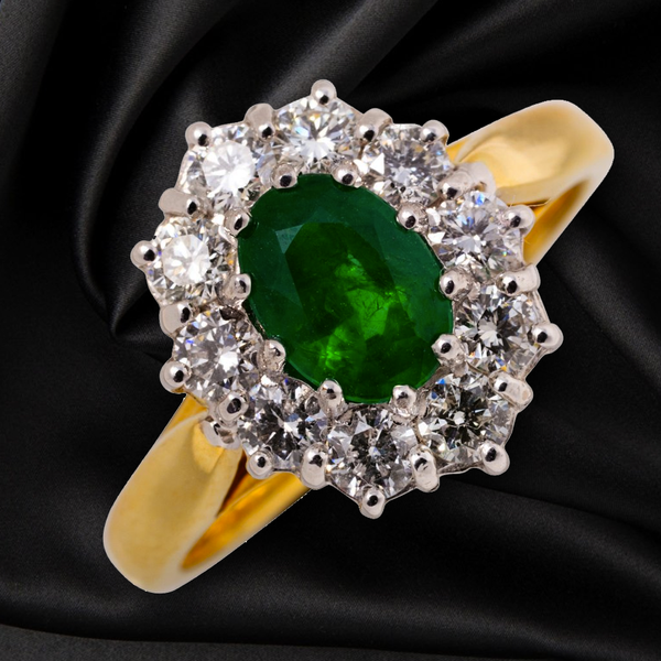 18CT YELLOW EMERALD AND DIAMOND RING