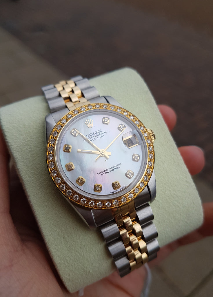 Rolex Ladies DateJust Mother of Pearl face Diamond Bezel