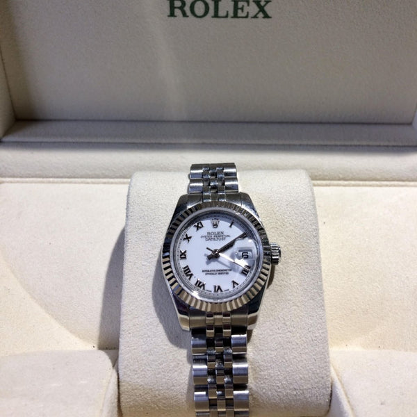 Ladies White Face Roman Numeral Rolex Datejust