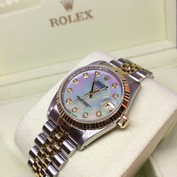 Ladies Bi-colour Mother of Pearl Datejust Midi Rolex