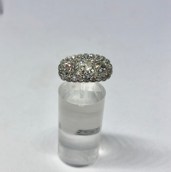 Platinum Old Cut 3 Stone Diamond Ring