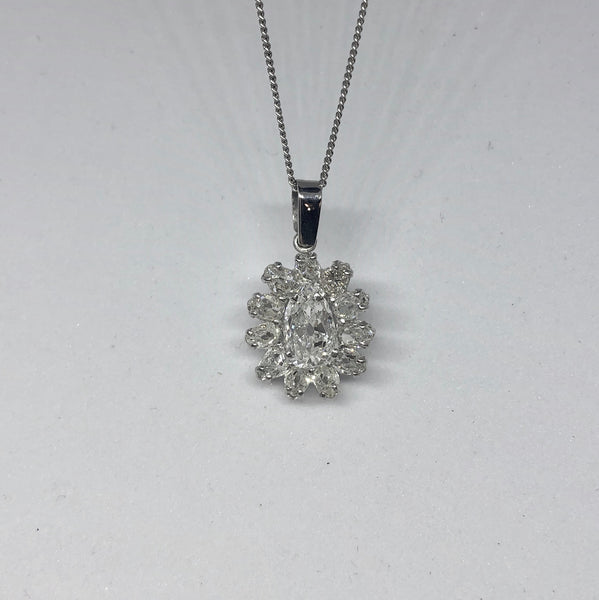 18ct White Gold Vintage Pear Shaped Old Cut Diamond Pendant