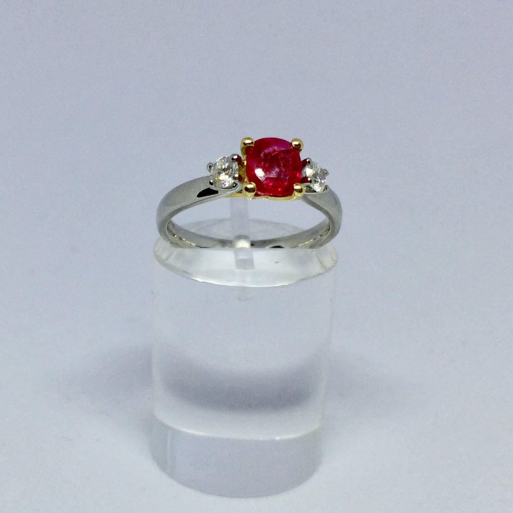 PLATINUM AND 18CT YELLOW GOLD RUBY DIAMOND TRILOGY RING