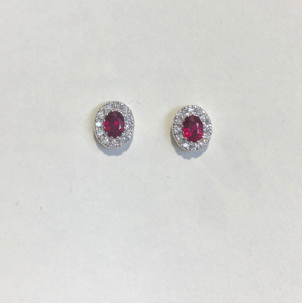 18CT WHITE GOLD RUBY DIAMOND CLUSTER EARRINGS