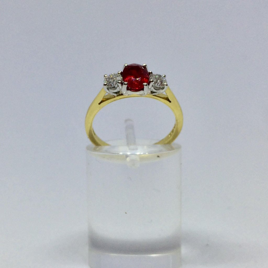 18CT YELLOW AND WHITE GOLD RUBY DIAMOND TRILOGY RING