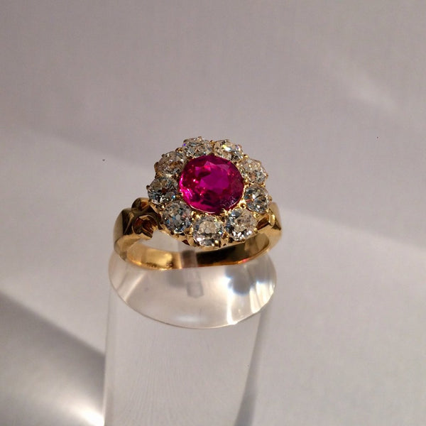 18ct Yellow Gold Ruby and Diamond Victorian Ring