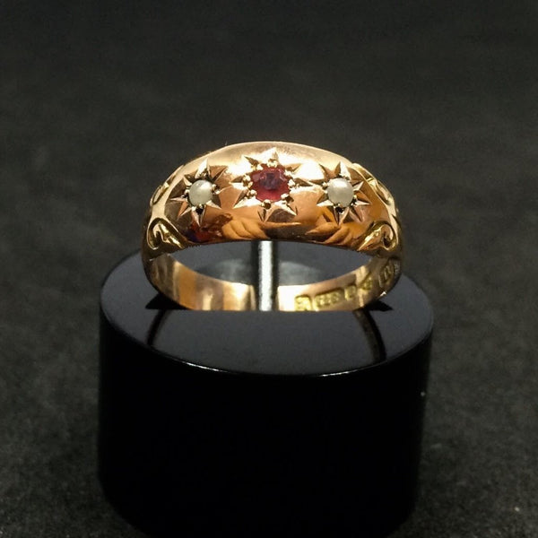 9CT ROSE GOLD GYPSY STARSET RUBY PEARL RING