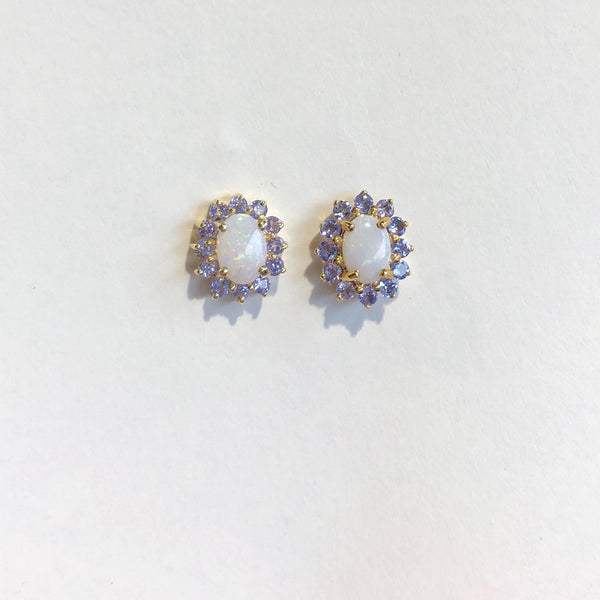 9CT YELLOW GOLD OPAL AND TANZANITE CLUSTER EARRINGS