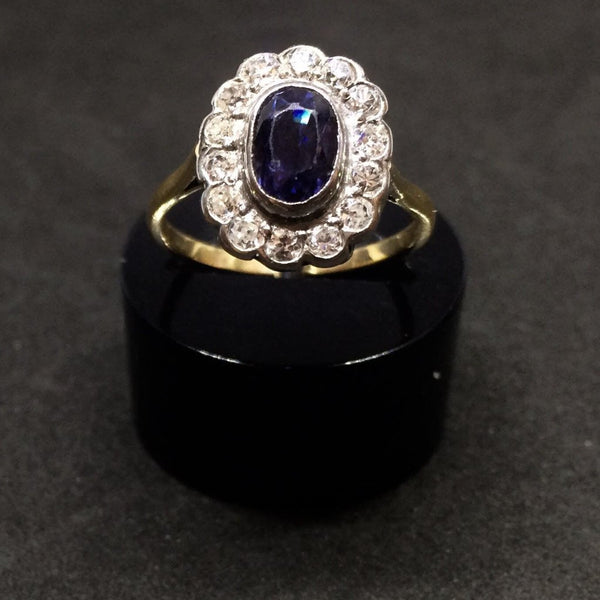 18CT YELLOW GOLD AND PLATINUM VICTORIAN SAPPHIRE DIAMOND RING