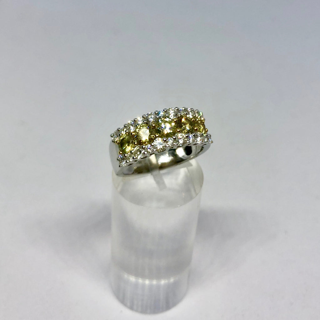 18ct White Gold Yellow and White Diamond Ring