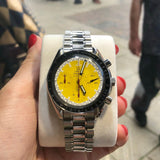 Gents Yellow Face Omega Speedmaster Michael Schumacher