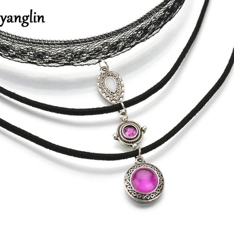 Black Trio Choker with Purple Stone Pendants