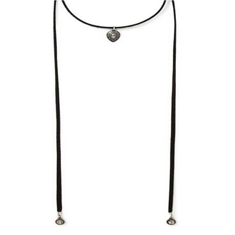 Fashionable Black Wrap Choker With Pendant