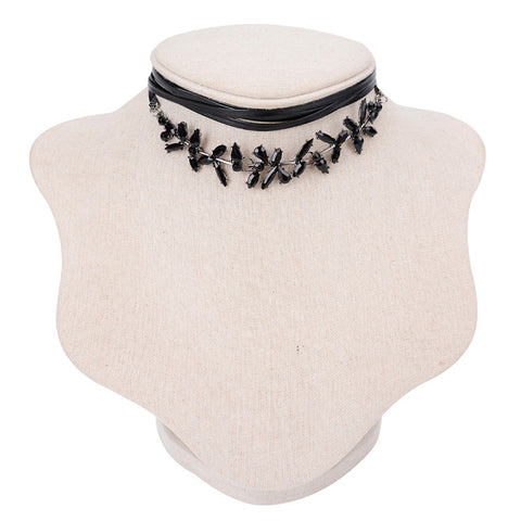 Black Wrap Flower Detail CHoker