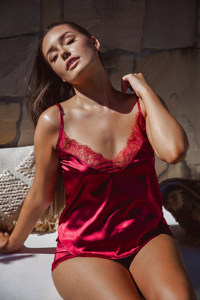 Deep Red Lace Cami Top