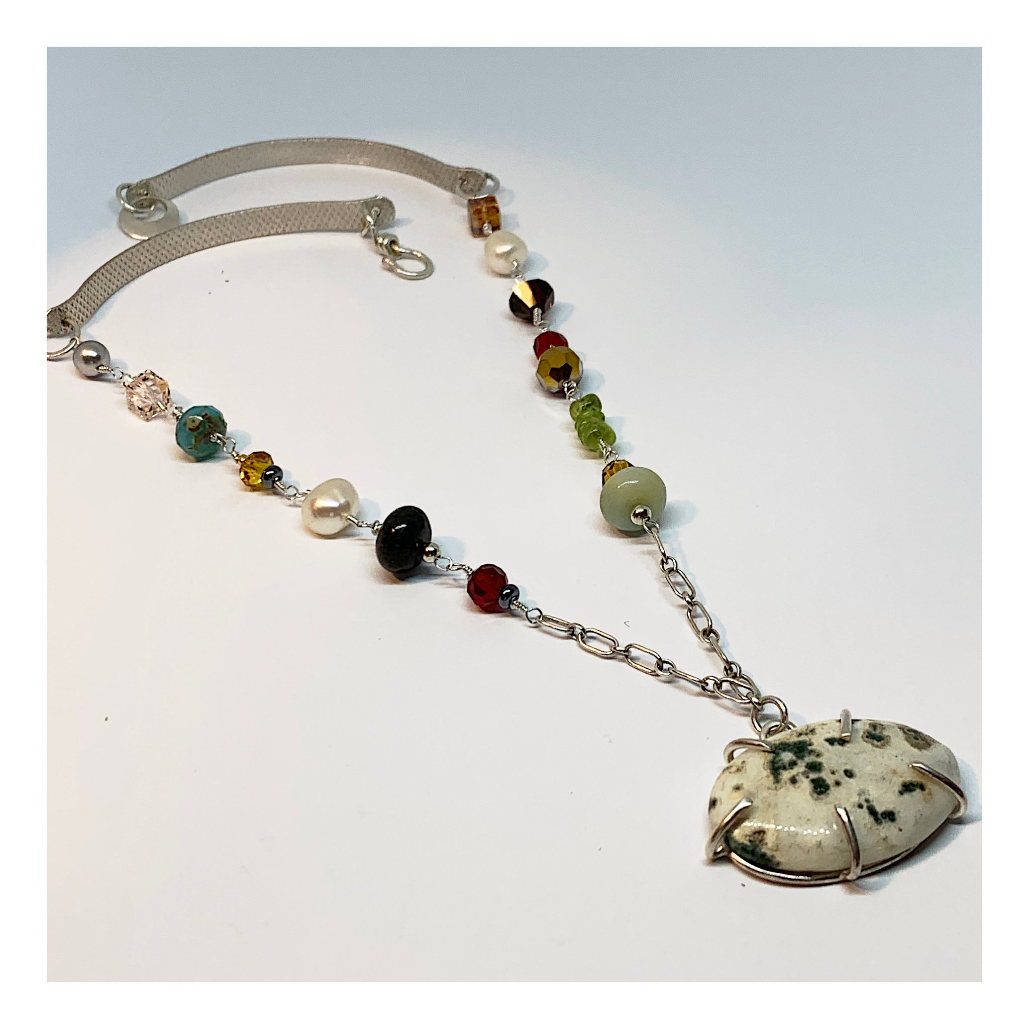 Colorful and Unique Gemstone Necklace in Sterling Silver